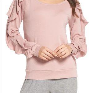 Chaser Ruffle Sleeve Sweatshirt in Mauve Pink sz L